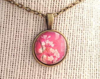 1962 Japanese Stamp- Cherry Blossoms - Postage Stamp Jewelry - Vintage Postage Stamp Necklace - Antique Bronze Finish
