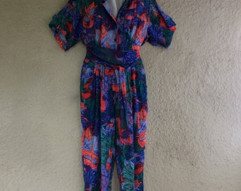 Adini Jumpsuit - Tropical Colorful Water Fish and Coral Romper Pantsuit