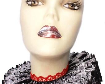 Ruffled Collar Black Widow Queen Elizabethan Neck Ruff Victorian Steampunk Gothic Spider Red