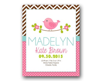 Baby Birth Print, Bird Birth Print, Personalized Birth Print, Wall Art, Bunting Birth Print