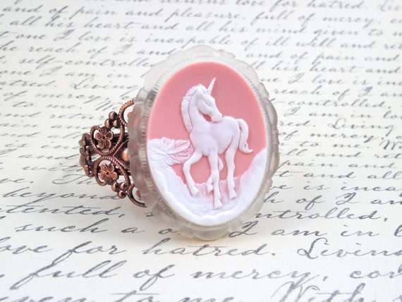 Blush Pink Unicorn Fantasy Cuff Bracelet - Fairytale Filigree Copper Cuff