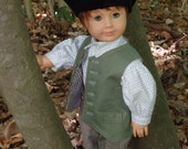 RESERVED Colonial Boy's Green Vest Work Outfit for 18 inch Dolls