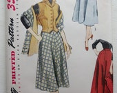Vintage Simplicity 3712 1950s Pattern for Women's Skirt, Vest, Shawl, Stole sz 18 B 36