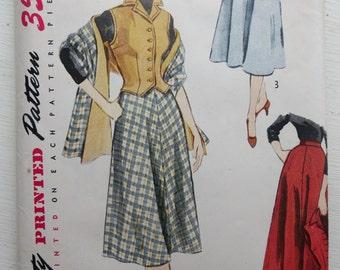 Vintage Simplicity 3712 1950s Pattern for Women's Skirt, Vest, Shawl, Stole sz 18 B 36