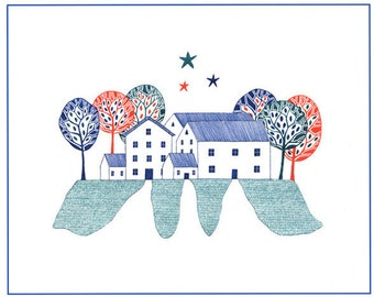 Art illustration of village homes, Scandinavian art, Graphic illustration houses, 10 x 8 art homes, Houses and trees art, Red blue green