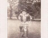 Paperboy- 1940s Vintage Photograph- Boy on Bike- Bicycle Basket- Summer Decor- 40s Snapshot- Found Photo- Vernacular- Paper Ephemera