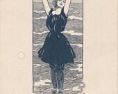 Help!- 1900s Antique Postcard- Edwardian Swimsuit- Bathing Beauty- Detroit Publishing Co- Artist Signed- R D Binshfield- Paper Ephemera