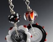 Asymmetrical Black White Red Sterling Silver Lampworking Beaded Earrings