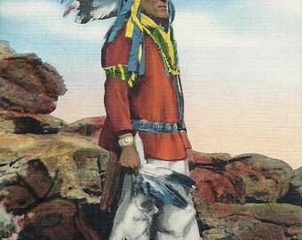 1930s Vintage Postcard Native American
