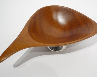 Emil Milan (1922-1985) Teak & Sterling Footed Wooden Bowl