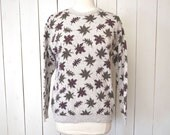 Maple Leaf Sweater Early 90s Cotton Knit Sweater Vintage Northern Reflections Woodland Sweater Medium