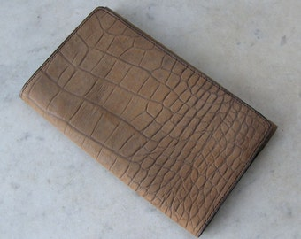 """ENGLISH CROCODILE BILLFOLD Wallet Mint Condition in Original Box 6 Compartments """"Notes Cards Stamps"""" in Gold Letters English Vintage 1950's"""