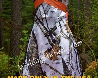 Hi-Low satin Camo Wedding or Bridesmaid dress 'Maci' --halter or strapless