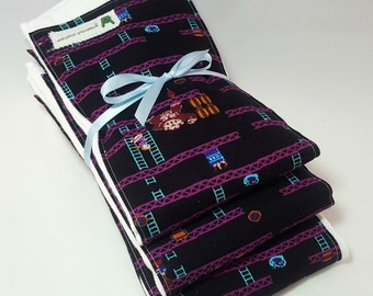 Baby Burp Cloth Set - Donkey Kong Themed - Video Game - 80s