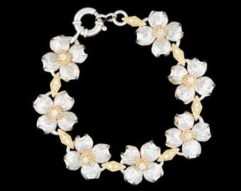 Sterling Silver, 18K Yellow Gold and Diamond Dogwood Blossom Bracelet.