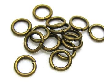 7mm Jump Rings : 100 Antique Bronze Open Jump Rings | Brass Ox Jump Rings 7 x 1.3mm (18 Gauge) -- Lead, Nickel & Cadmium free 7/1.3-1