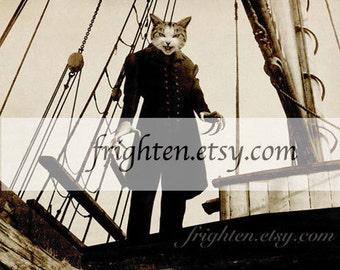 Weird Cat Art Print, Halloween Decor, 11 x 8.5 inch Print, Halloween Wall Art, Anthropomorphic Creepy Cat Wall Decor