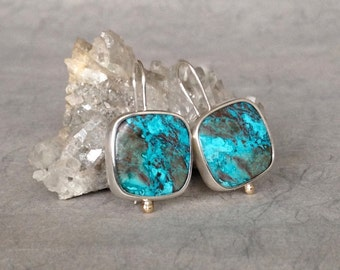 Silver Chrysocolla Earrings, unique handmade gift, ready to ship