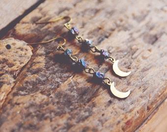 rainbow crystal moon earrings.