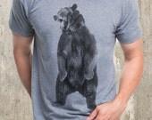 Men's Angry Bear T-Shirt - Men's Screen Printed T-Shirt - American Apparel