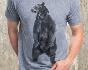 Men's Angry Bear T-Shirt - Men's Screen Printed T-Shirt - American Apparel