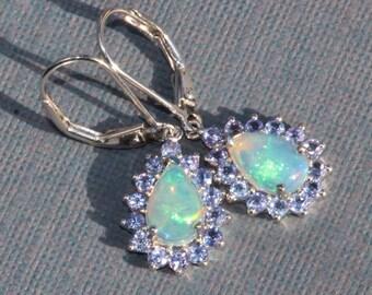 NEW Genuine Opal & Tanzanite Earrings,Welo Opal Gemstone Earrings,Sterling Silver Drop,October Birthstone,2 Carat Opal Earrings,Ethiopian