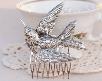 LARGE Antique Silver Bird Hair Comb,Silver Ox Bridal Hair Comb,Hummingbird,Nature,Woodland,Statement,3D Bird Hair Accessory,Gift,Womens