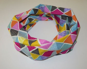 MULTICOLOR Infinity Scarf Colorful Circle Scarf Geometric, Year round scarf Handmade, Ready to Ship