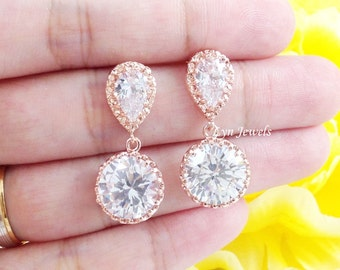 Rose Gold Earrings - Round Cubic Zirconia Pink Gold Sparkling Jewelry - Wedding Bridal Bridesmaids Prom Earrings