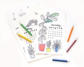 DOWNLOAD 2018 Coloring Desk Calendar | Hand Drawn Illustrated Succulent Calligraphy Handmade Desk Calendar
