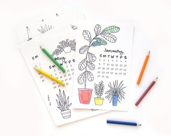 2018 Coloring Desk Calendar | Hand Drawn Illustrated Succulent Calligraphy Handmade Desk Calendar