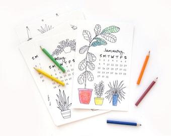 PRE-ORDER 2018 Coloring Desk Calendar | Hand Drawn Illustrated Succulent Calligraphy Handmade Desk Calendar
