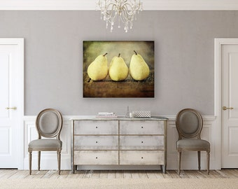 Canvas Art: Farmhouse Kitchen Wall Art, Pears Gallery Wrap Kitchen Decor Canvas Art, Yellow, Brown, Rustic Kitchen Canvas, Food Photography.
