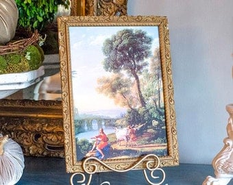 French Art Print, Apollo Guarding the Sheep, Claude Lorrain, framed in Antique Gesso Frame with Easel