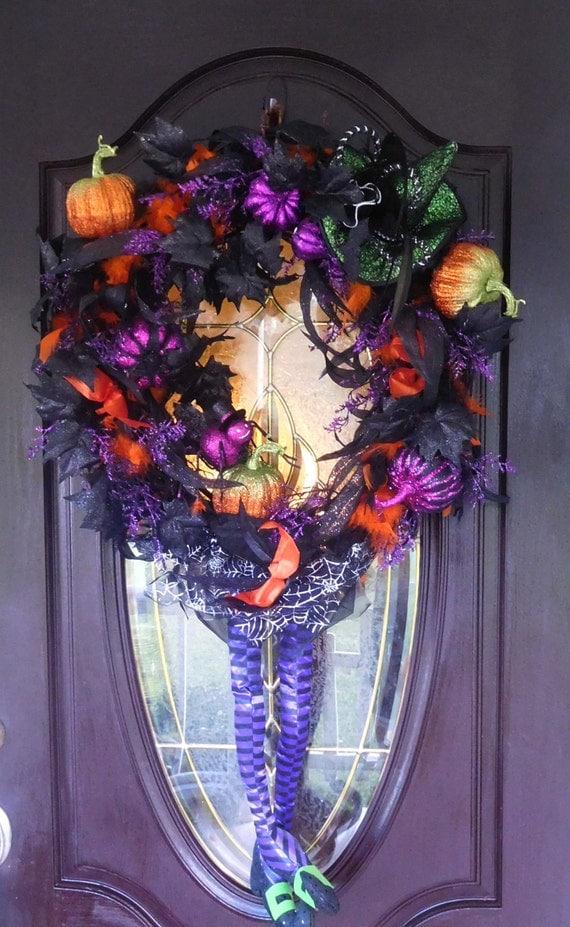 Fall Wreath , XL Halloween Wreath , Door Wreath ,  Witch Wreath , Front Door Wreath , Outdoor Wreath