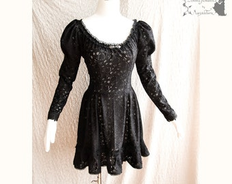 Dress black lace, Victorian, romantic goth, steampunk, Devia, Somnia Romantica, size small - medium , see item details for measurements