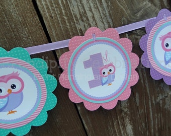 Owl Birthday Banner, Personalized Word Banner,  Look Whooo's 1, Baby Shower Banner, Owl Party Banner, 1st Birthday, Owls, Photo Prop
