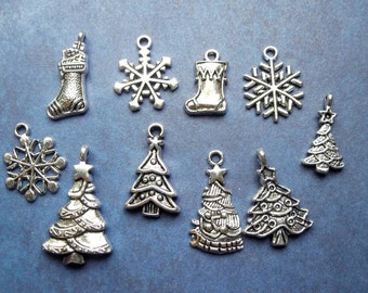 SALE - Collection of Christmas Charms in Silver Tone - C2411
