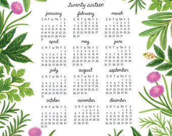 SALE! 2016 Calendar, Herb Calendar,  11 x 14 Poster Calendar