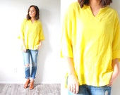 Vintage yellow blouse // oversized yellow blouse // summer top // medium top // boho top // summer spring blouse // fancy blouse // 80's