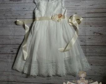vintage white flower girl dress, baby dress, vintage flower girl dress, lace dress, cream flower girl dress, champagne flower girl dress