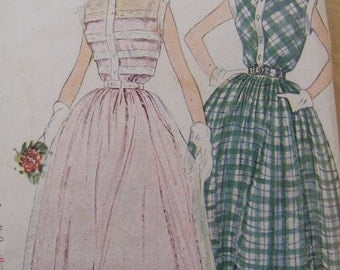 1950 Simplicity Dress in 2 Styles Semi Formal or Day Dress Sewing Pattern 3252, Size 15, Bust 33