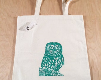 Owl Tote Bag Turquoise