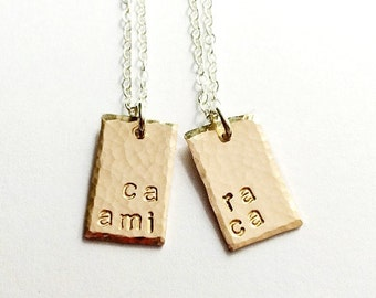 Best Friend Necklace Set, Best Friend Gift, Sister Gift, Friendship Necklace, Cousin Gift, Sister Jewelry Set, Italian, Cara Amica