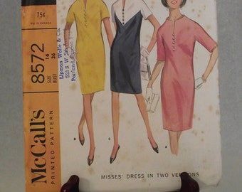1966 Cute Yoked Dress: McCall's Printed Pattern 8572 - Size 16, Bust 36 - Color Block, 3 Section Yoke