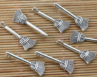 10 Broom Charms, Cleaning Charms, Sweeping Charms, DIY Charms, Beading Supplies, Jewelry Supplies, Jewelry Making Supplies
