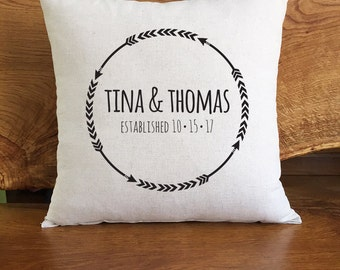 Personalized Arrow Pillow, Custom Names And Established Date, Personalized Wedding or Anniversary Gift, Arrow Home Decor Pillow