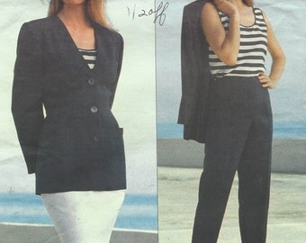 90s Michael Kors Womens Jacket, Skirt, Pants & Top Vogue Sewing Pattern 2915 Size 6 8 10 Bust 30 1/2 to 32 1/2 UnCut American Designer
