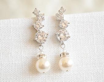 Pearl Bridal Earrings, Rose Gold Crystal Cluster Wedding Earrings, Swarovski Pearl Drop Dangle Earrings, Wedding Bridal Jewelry, JESSALYN