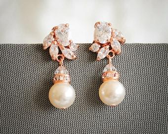 Rose Gold Bridal Earrings, Art Deco Crystal Wedding Earrings, Swarovski Pearl Drop Earring,  Zirconia Earrings, Wedding Jewelry, HONORA